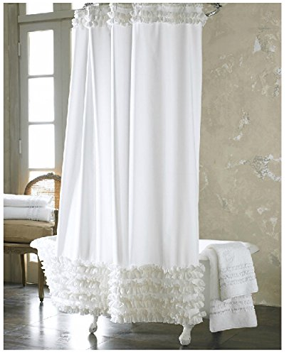 Eforgift 72 inch by 72 inch solid white ruffles shower for Do shower curtains come in different lengths
