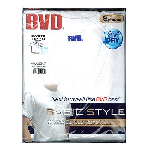 B.V.D. 吸汗速乾2枚組 深VネックTシャツ NB205-2P L WH