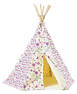 Garden Games Limited Girl's Flower/ Butterfly Wigwam Play Tent with Wooden Frame and Cotton Canvas (Pink)
