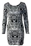 New Womens Long Sleeve Aztec Tye Dye Print Bodycon dress Ladies tunic top 8 10 12 14