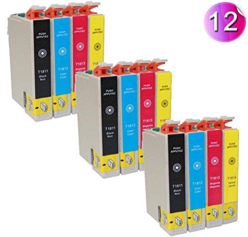 12x Druckerpatronen kompatible für Epson T1811 T1812 T1813 T1814 Schwarz je 18ml C MY je 18ml -- Drucker patronen für Epson Expression Home XP30 XP102 XP202 XP205 XP302 XP305 XP402 XP405 XP212 XP215 XP312 XP315 XP412 XP415 Tintenpatronen (3 Sätze)