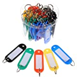 50 Pcs Plastic Keychain Key Tags ID Label Name Tags Split Ring