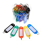 Como 50 Pcs Assorted Color Key ID Label Tags Split Ring Keyring Keychain
