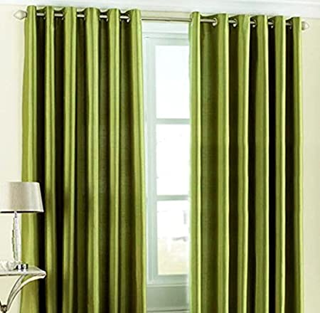 """Home Candy Eyelet Fancy Polyester 2 Piece Door Curtain Set - 84""""x48"""", Green (SOE-CUR-118_118)"""