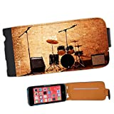 Warm Up Ready Drum Set Amplifiers Leather Flip Case Cover for Apple iPhone 5C