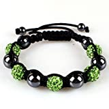 10mm Green Crystals Macrame 5pcs Beaded Shamballa Ball Adjustable Bracelet