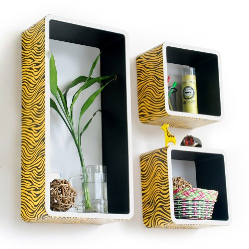 Trista - [Yellow Zebra Stripe] Rectangle Leather Wall Shelf / Bookshelf / Floating Shelf (Set Of 3) front-927933