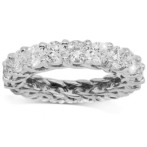 14K White Gold Womens Diamond Eternity Band 4.85