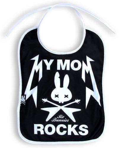 "Six Bunnies Bavaglino con scritta ""My mom rocks"" [in lingua inglese], BIB-032"