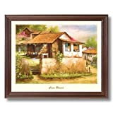 Mexican Casa Blanca Spanish Landscape Home Decor Wall Picture Cherry Framed Art Print