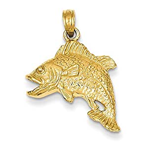 14k yellow gold jumping bass fish charm for Gold fish charm