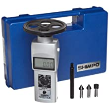 "Shimpo DT-105A-S12 Handheld Tachometer with 12"" Wheel, LCD Display, +/-0.06rpm Accuracy, 0.10 - 25000rpm Range"