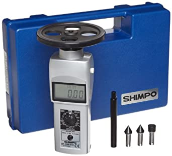 "Shimpo DT-105A-S12 Handheld Tachometer with 12"" Wheel, LCD Display, 0.10 - 25000rpm Range"