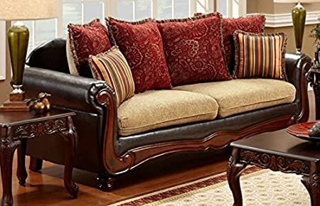 Banstead Sofa with Pillows in Tan Espresso finish by Furniture of America