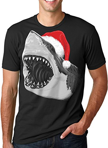 [Mens Santa Jaws T Shirt Cool Christmas Hat Shark Pun Tee M] (Crazy Christmas Hats)