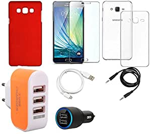 NIROSHA Tempered Glass Screen Guard Cover Case Car Charger USB Cable Charger car for Samsung Galaxy ON5 - Combo