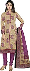 SDM Women's Crepe Printed Dress Material Unstitched (921, Beige, Free Size)