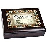 Perfect Daughter Italian Style Bronze Wood Finish Decorative Jewel Lid Musical Jewelry Box - Plays What a Wonderful World