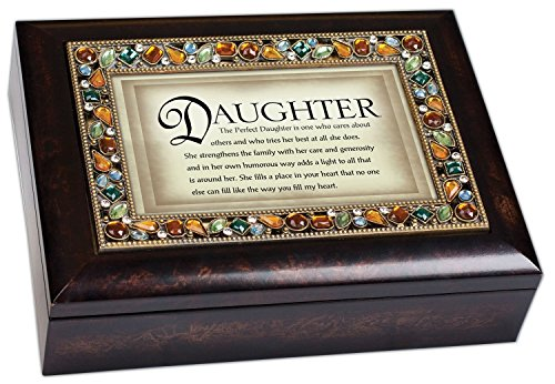Perfect Daughter Italian Style Bronze Wood Finish Decorative Jewel Lid Musical Jewelry Box - Plays What a Wonderful World
