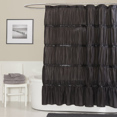 Lush Decor Twinkle Shower Curtain, Black