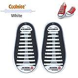 Coolnice 結ばない靴紐 白色シューレース 防水シリコン製子供大人用 20pcs