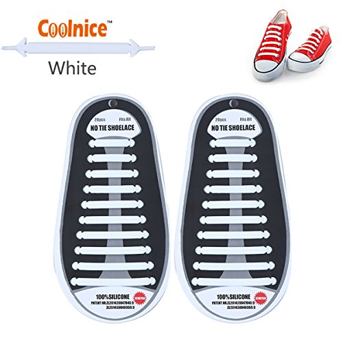 Coolnice No Tie Shoelaces for Adults and Kids DIY 20pcs- Environmentally safe Waterproof Silicon- Color of white