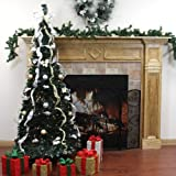 6 Pre-Lit Pop Up Decorated Silver/Gold Artificial Christmas Tree - Clear Lights