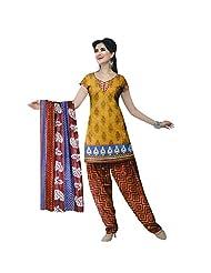 Siddhi Cotton Mustard & Red Printed Salwar Suit & Dupatta Material