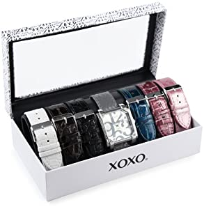 XOXO Women's XO9024 Seven Color Crocodile/Snake Interchangeable Strap Set Watch