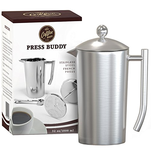 French Press, 1 Liter Coffee Press, Double Wall Stainless Steel Carafe. This French Press Coffee ...
