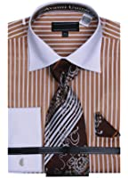 Sunrise Outlet Men's Striped Dress Shirts with Tie & Hanky Set