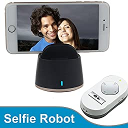 Motoraux Smart Selfie Robot for Mobile Phone IOS and Andro System with Bluetooth Connection to Take Photo Auto Tracking 360 Degree Rotate