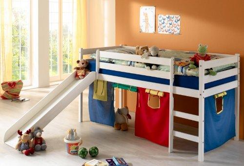 Lit sur lev chambre enfant lasur blanc toboggan rideaux - Chambre garcon bleu et rouge ...