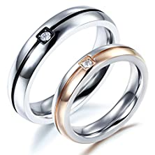buy Besteel Mens Womens Couples Ring Matching Cz Simple Wedding Engagement Promise Women 6