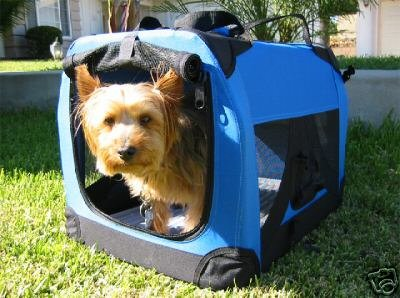 """Blue Pet Soft Side Crate/Carrier For Travel, Indoor And Outdoor *Small* 20""""Lx14""""Wx14""""H front-618504"""