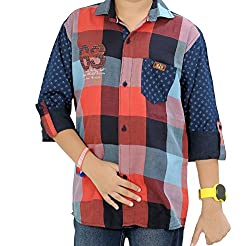 CAY 100% Cotton Red Color Designer Checks Shirt With Printed Full Sleeves (Size:S)