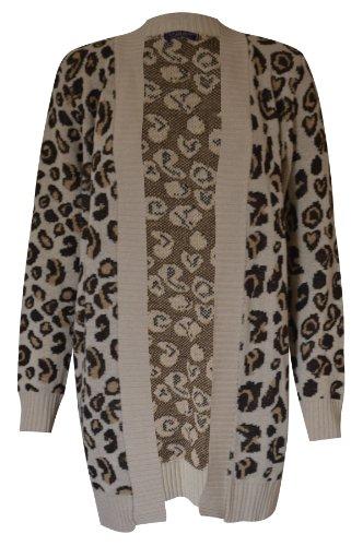 New womens knitwear ladies aztec/leopard print boyfriend knitted open cardigan 8 10 12 14