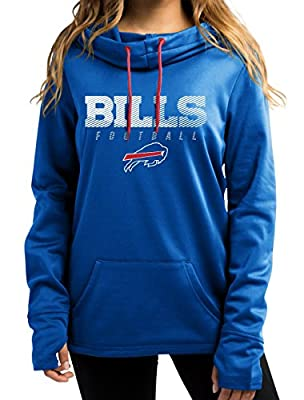 "Buffalo Bills Women's Majestic NFL ""Speed Fly"" Cowl Neck Hooded Sweatshirt"
