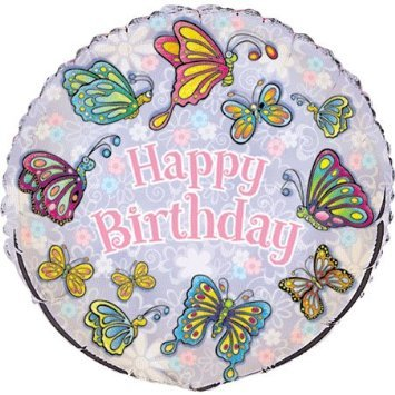 "18"" Fluttering Butterflies Happy Birthday Foil Balloon - Birthday Balloon - 1"