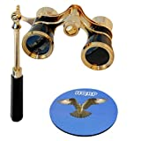 3 x 25 Opera Glass Binocular in Elegant Black Color w/ Built-In Elegant Black Extendable Handle with Gold Trim by HQRP plus Coaster