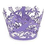 """Elfenstall Cupcake / Muffin Papierförmchen - Zierumrandung - Dekorand """" Vogel / Bird / Taube """" 12 Stück für Geburtstage Hochzeiten Taufen Kommunion Konfirmationen Ostern Partys oder Feste (dunkel lila)"""