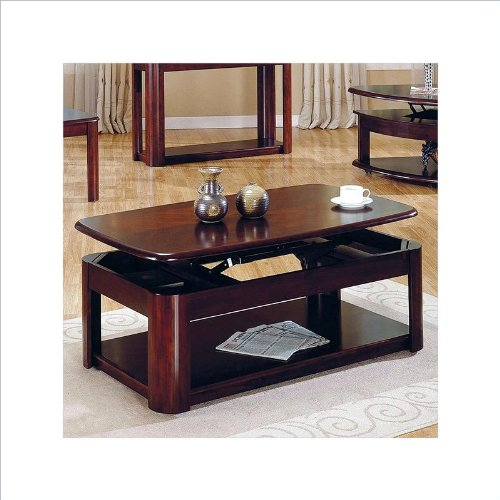 steve silver lidya rectangular cherry wood lift top coffee table with casters. Black Bedroom Furniture Sets. Home Design Ideas
