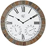 River City Clocks 15 Inch Indoor/Outdoor Tile Clock with Time, Temperature, and Humidity - Model # 1012-15