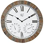 River City Clocks 15 Inch Indoor/Outdoor Tile Clock with Time Temperature and Humidity - Model # 1012-15