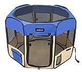 EliteField 2-Door Soft Pet Playpen, 3 Size 4 Color Available (Royal Blue+Beige, 48