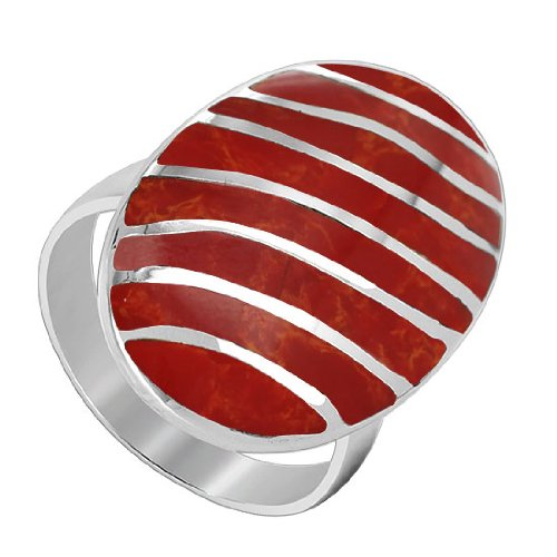 Sterling Silver 25mm x 16mm oval Simulated Coral with Silver Stripes Design 3mm Band Ring