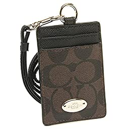 COACH Women\'s Outlet Card Case Embossed Pattern Lanyard Id Identification Cases One Size Brown / Black