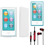 Skque Clear Silicone Skin Case Cover + Clear LCD Screen Protector Guard + Red Metal In ear Stereo Earphone Headset w/Mic and On-off switch for Apple iPod nano 7th Generation