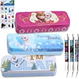 Disney Frozen Pencil Case School Set for Kids - 3 Frozen Tin Pencil/Pen Cases In 2 Fun Styles (Featuring Elsa, Ana & Olaf), 3 Ball Point Pens & Frozen Stickers