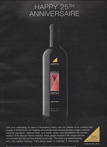 **PRINT AD** For 2011 Justin Isosceles Wine: Happy Anniversary Scene **PRINT AD** (Wine Justin compare prices)